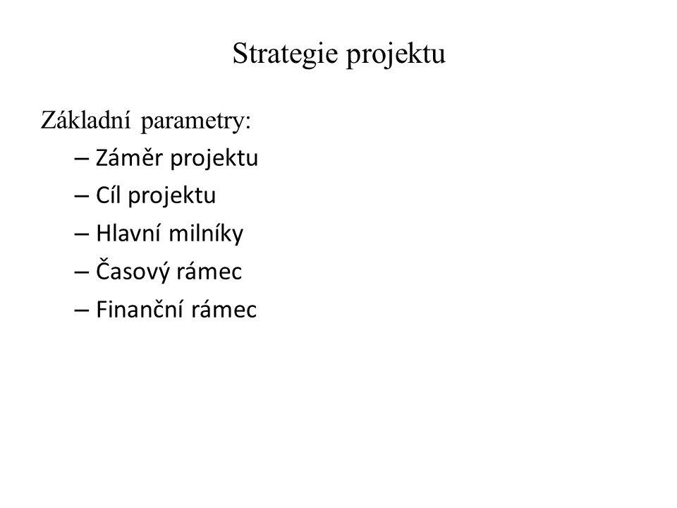 Strategie projektu Základní parametry: Záměr projektu Cíl projektu