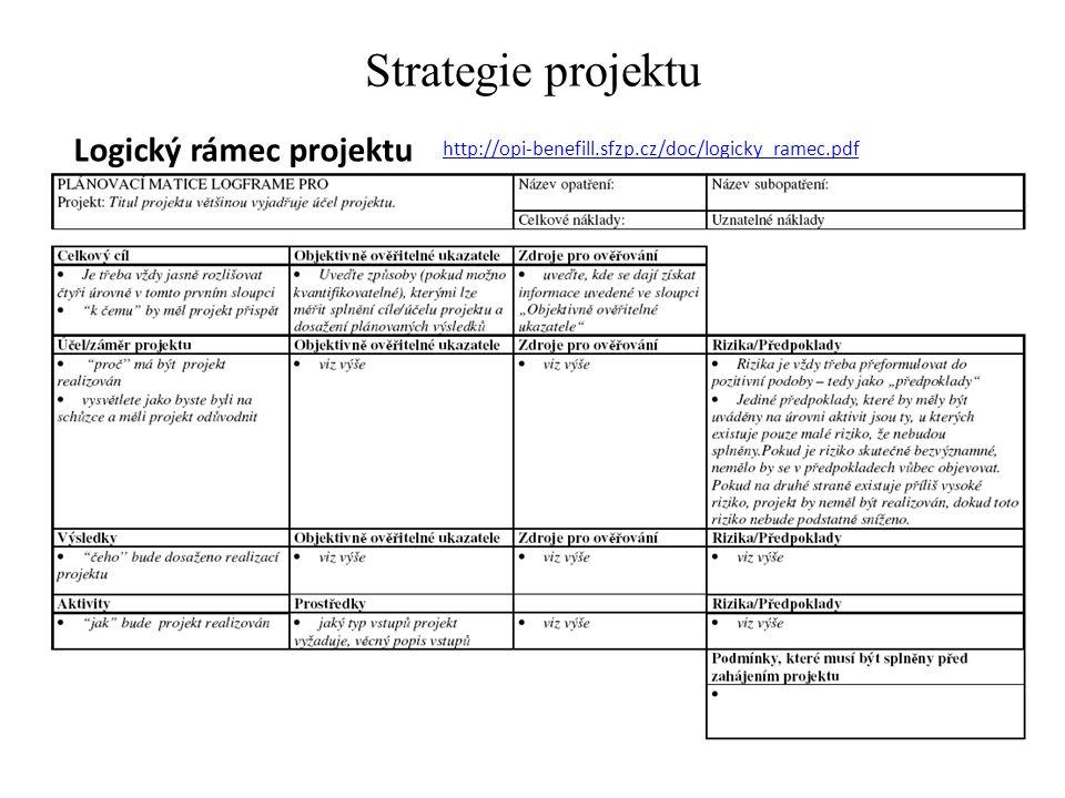 Strategie projektu Logický rámec projektu