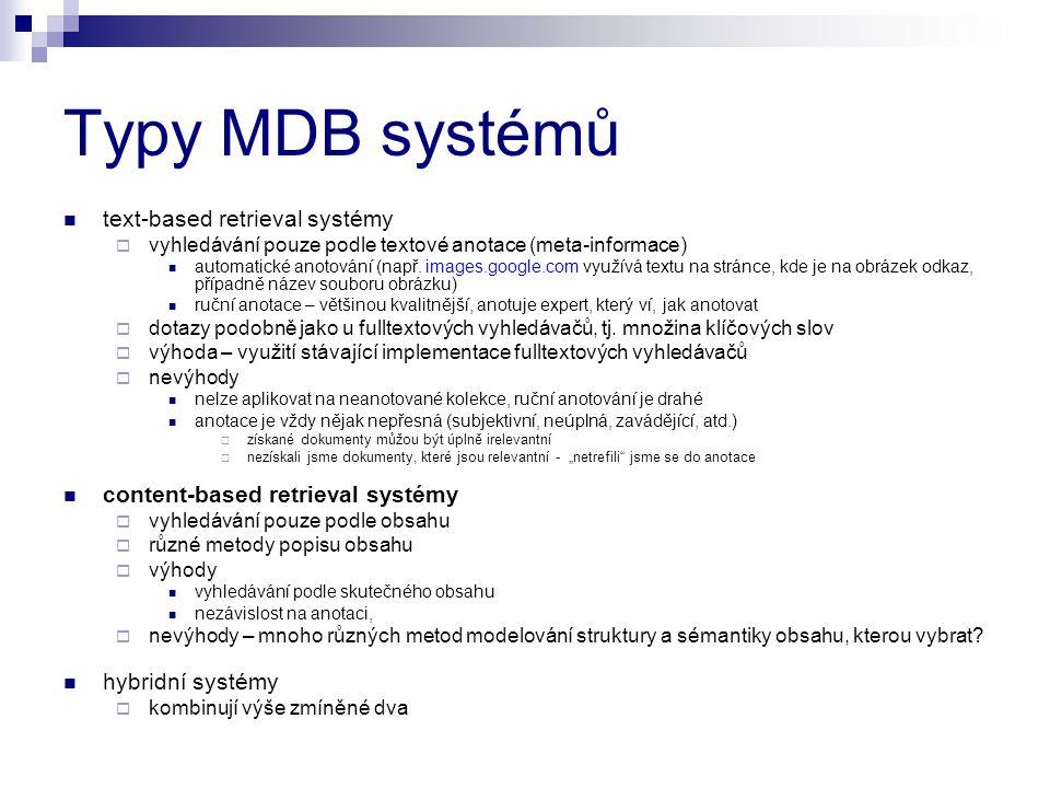Typy MDB systémů text-based retrieval systémy