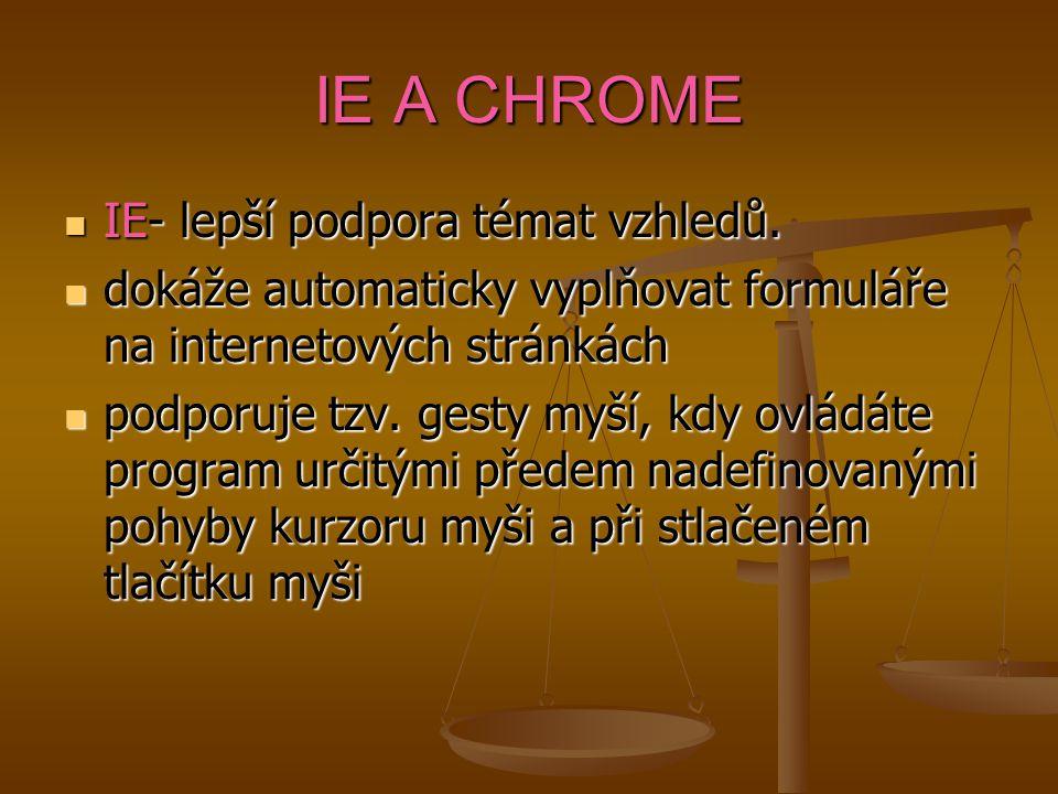 IE A CHROME IE- lepší podpora témat vzhledů.