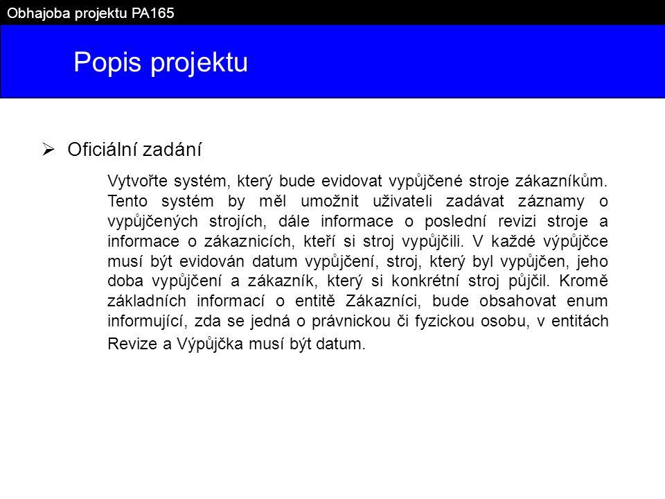 Popis projektu Oficiální zadání