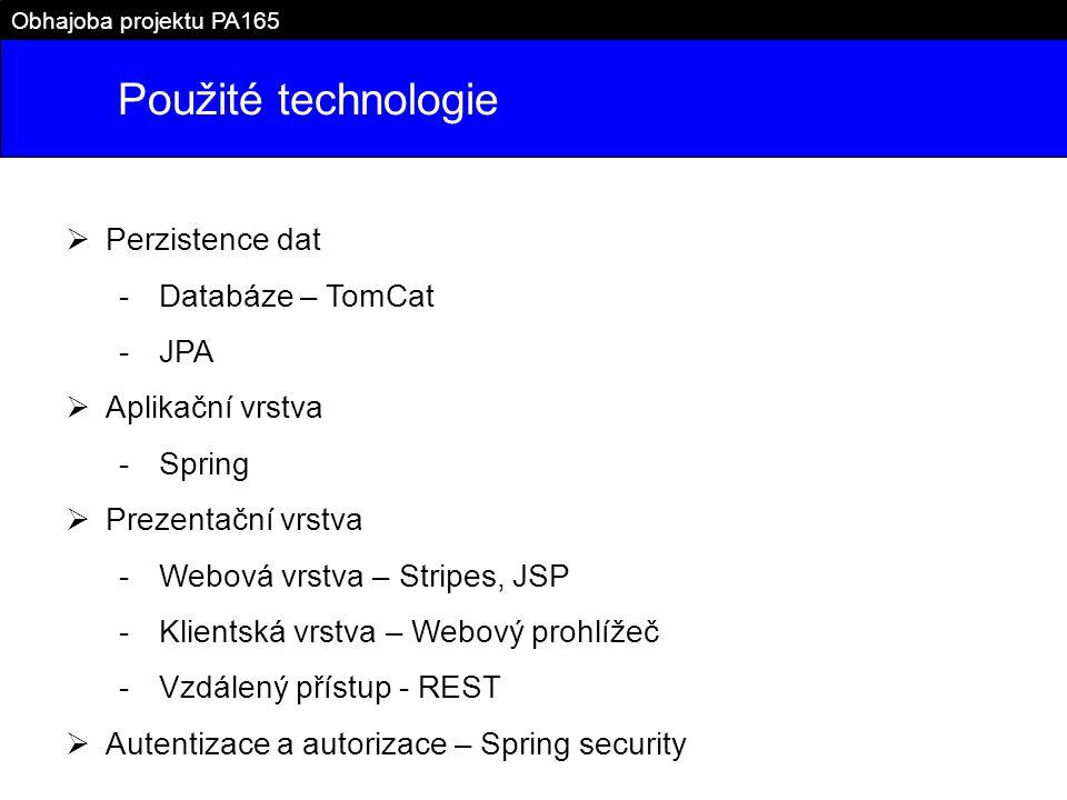 Použité technologie Perzistence dat Databáze – TomCat JPA