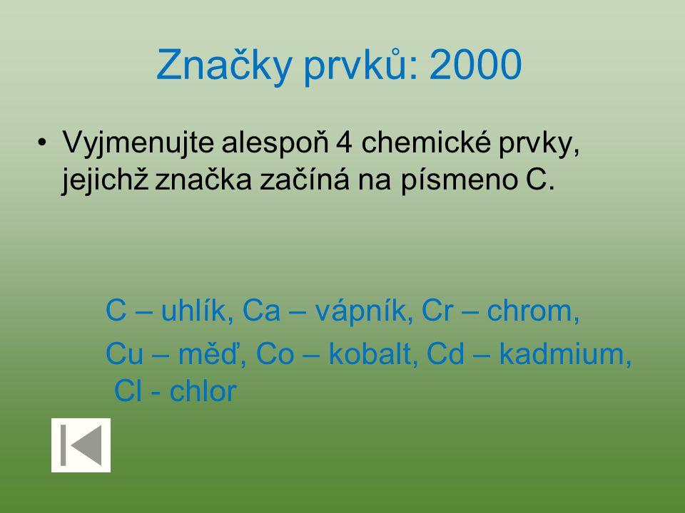 Značky prvků: 2000 Vyjmenujte alespoň 4 chemické prvky, jejichž značka začíná na písmeno C. C – uhlík, Ca – vápník, Cr – chrom,