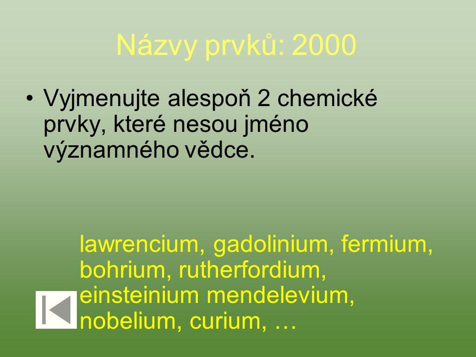 Názvy prvků: 2000 Vyjmenujte alespoň 2 chemické prvky, které nesou jméno významného vědce.