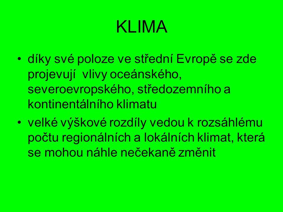 KLIMA díky své poloze ve střední Evropě se zde projevují vlivy oceánského, severoevropského, středozemního a kontinentálního klimatu.