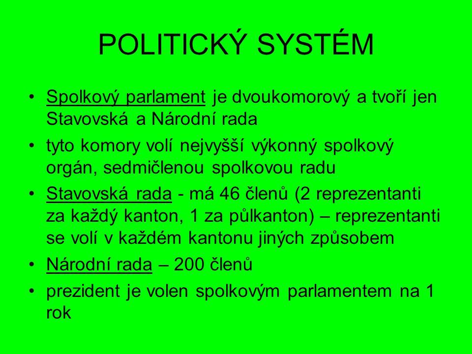 POLITICKÝ SYSTÉM Spolkový parlament je dvoukomorový a tvoří jen Stavovská a Národní rada.