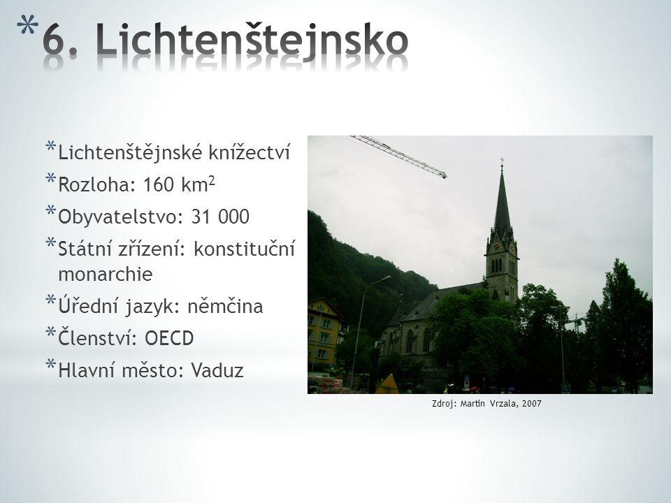 6. Lichtenštejnsko Lichtenštějnské knížectví Rozloha: 160 km2