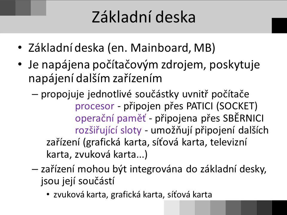 Základní deska Základní deska (en. Mainboard, MB)
