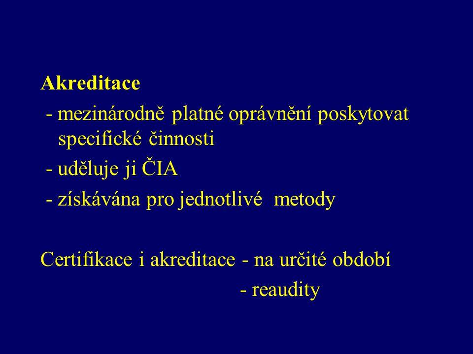 Akreditace - mezinárodně platné oprávnění poskytovat specifické činnosti. - uděluje ji ČIA. - získávána pro jednotlivé metody.
