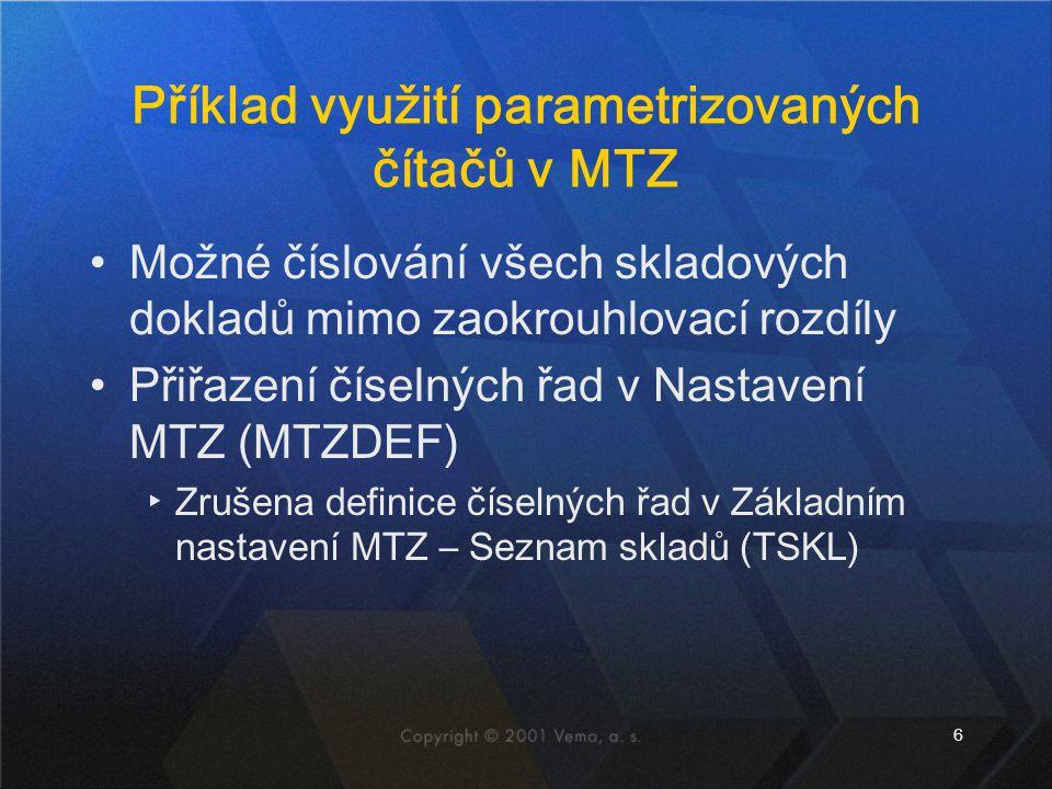 Příklad využití parametrizovaných čítačů v MTZ