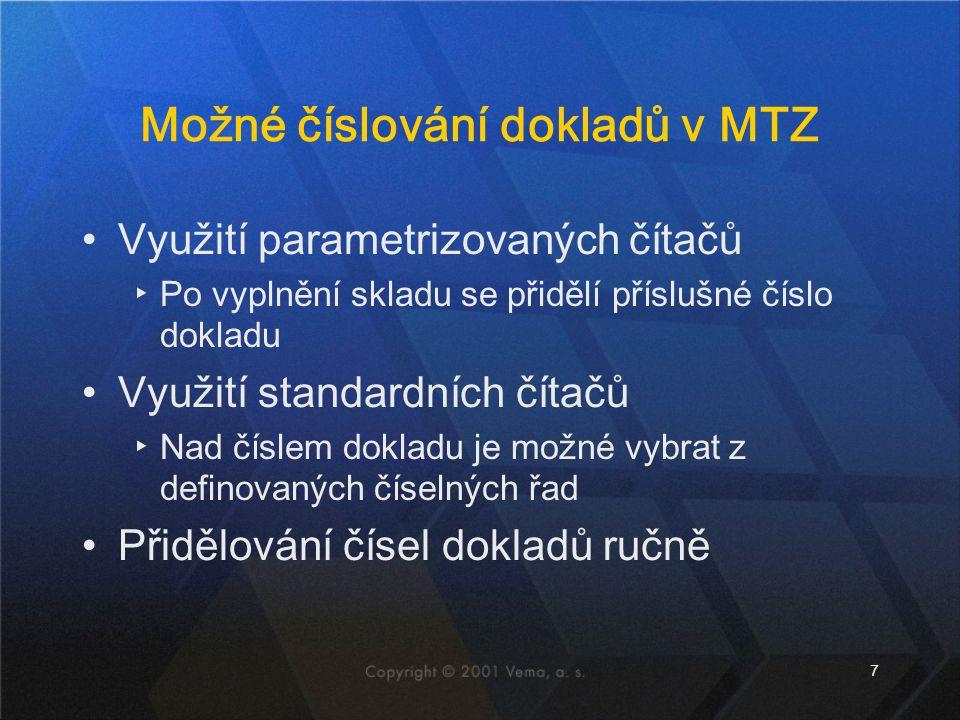 Možné číslování dokladů v MTZ