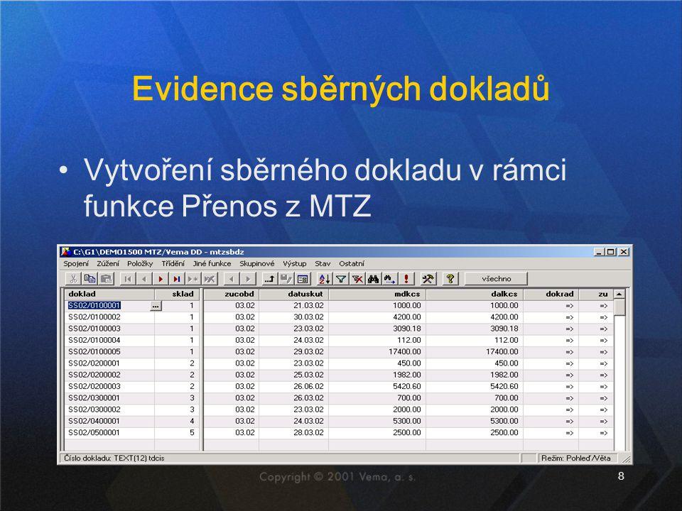 Evidence sběrných dokladů