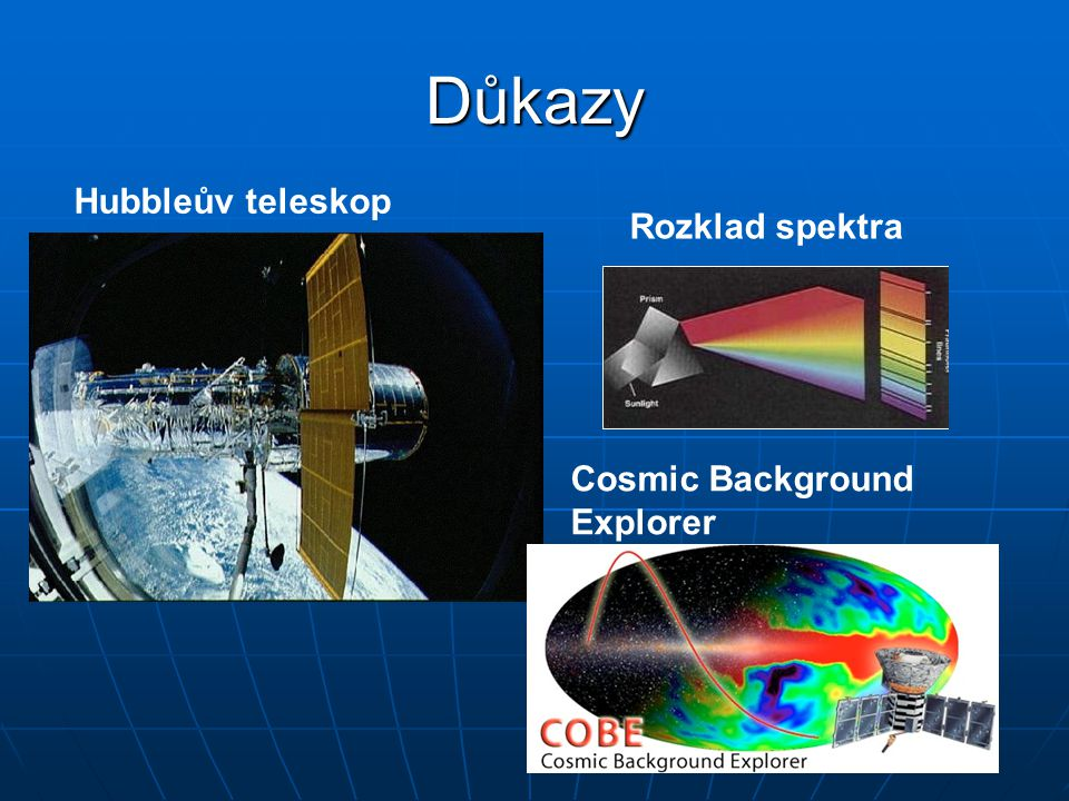 Důkazy Hubbleův teleskop Rozklad spektra Cosmic Background Explorer