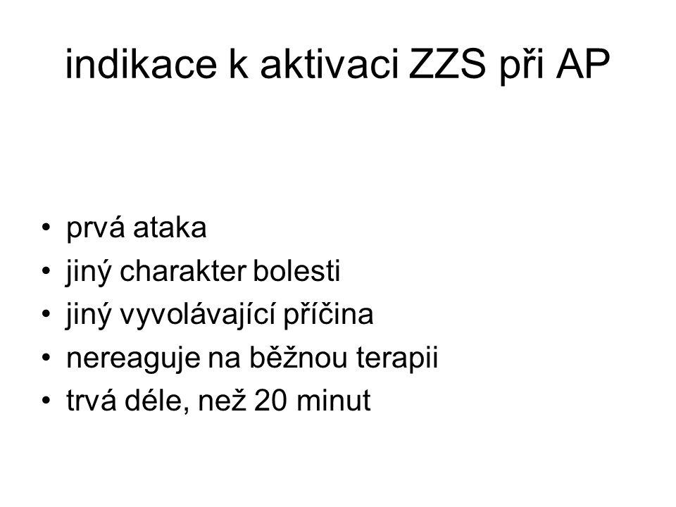 indikace k aktivaci ZZS při AP