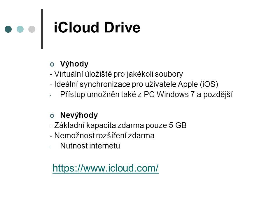 iCloud Drive https://www.icloud.com/ Výhody