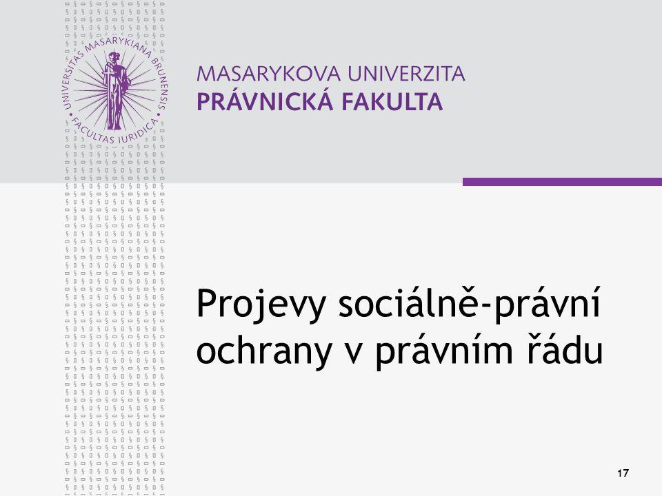 Projevy sociálně-právní ochrany v právním řádu