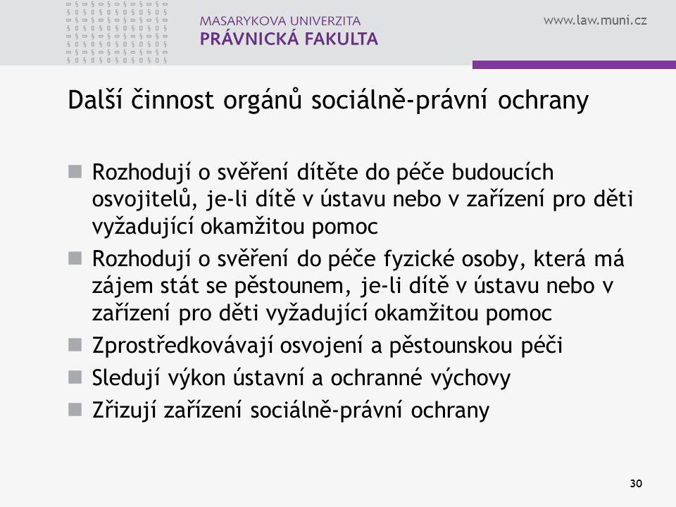 Další činnost orgánů sociálně-právní ochrany