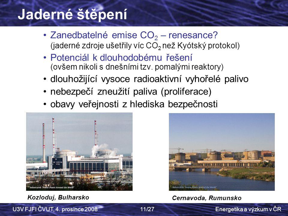 Jaderné štěpení Zanedbatelné emise CO2 – renesance (jaderné zdroje ušetřily víc CO2 než Kyótský protokol)