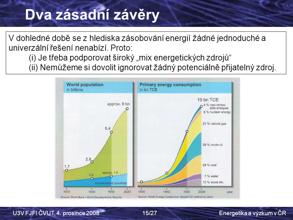 Dva zásadní závěry V dohledné době se z hlediska zásobování energií žádné jednoduché a univerzální řešení nenabízí. Proto: