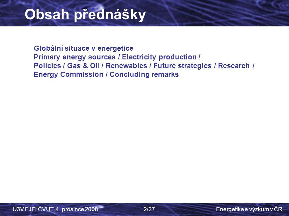 Obsah přednášky Czech Physics Society Globální situace v energetice
