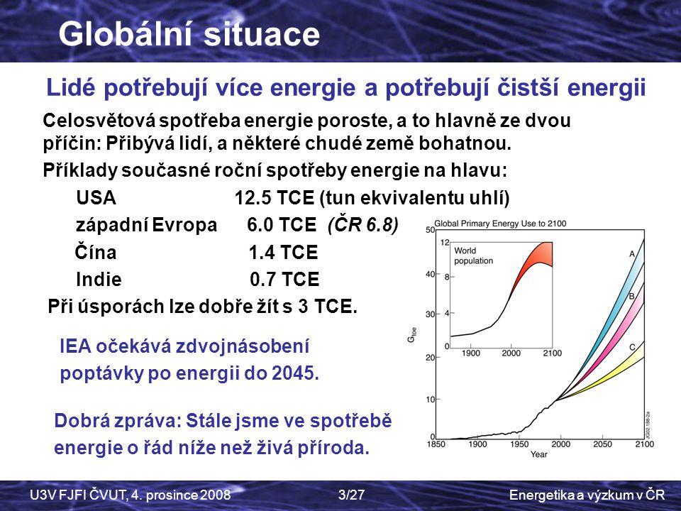 Lidé potřebují více energie a potřebují čistší energii