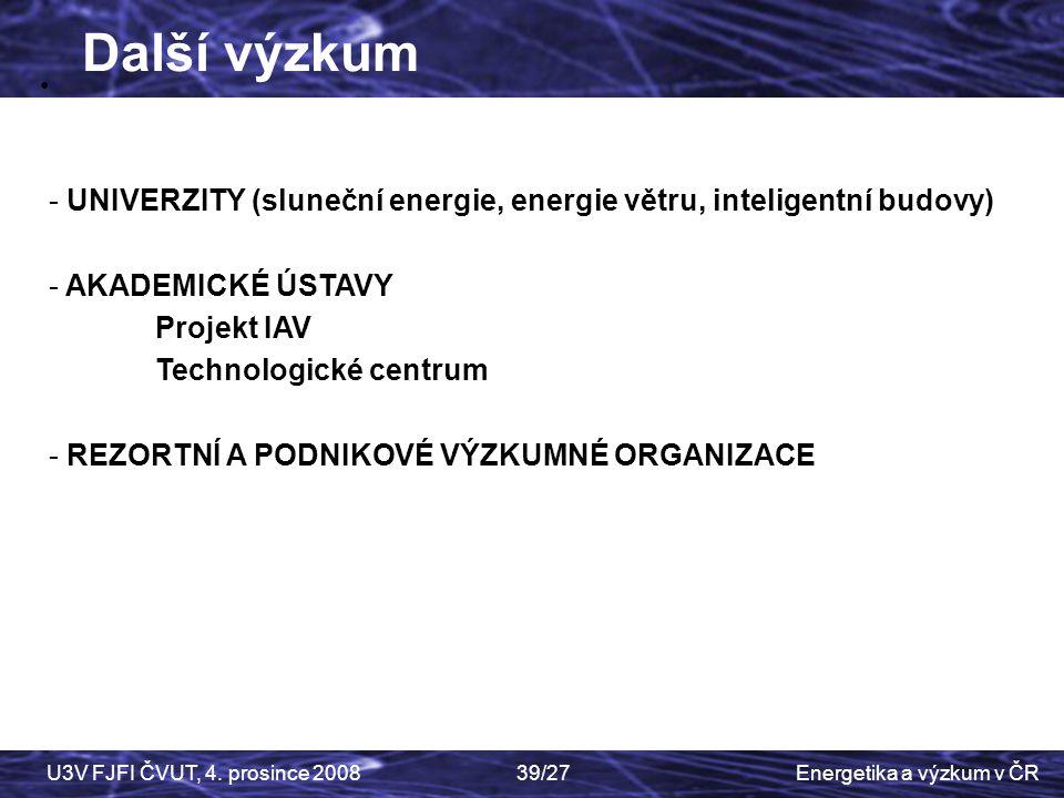 Další výzkum • UNIVERZITY (sluneční energie, energie větru, inteligentní budovy) AKADEMICKÉ ÚSTAVY.