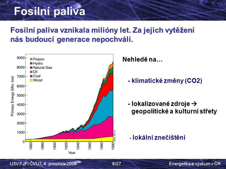 Fosilní paliva Fosilní paliva vznikala milióny let. Za jejich vytěžení nás budoucí generace nepochválí.