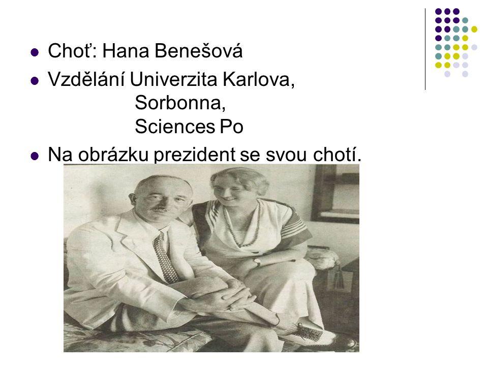 Choť: Hana Benešová Vzdělání Univerzita Karlova, Sorbonna, Sciences Po.