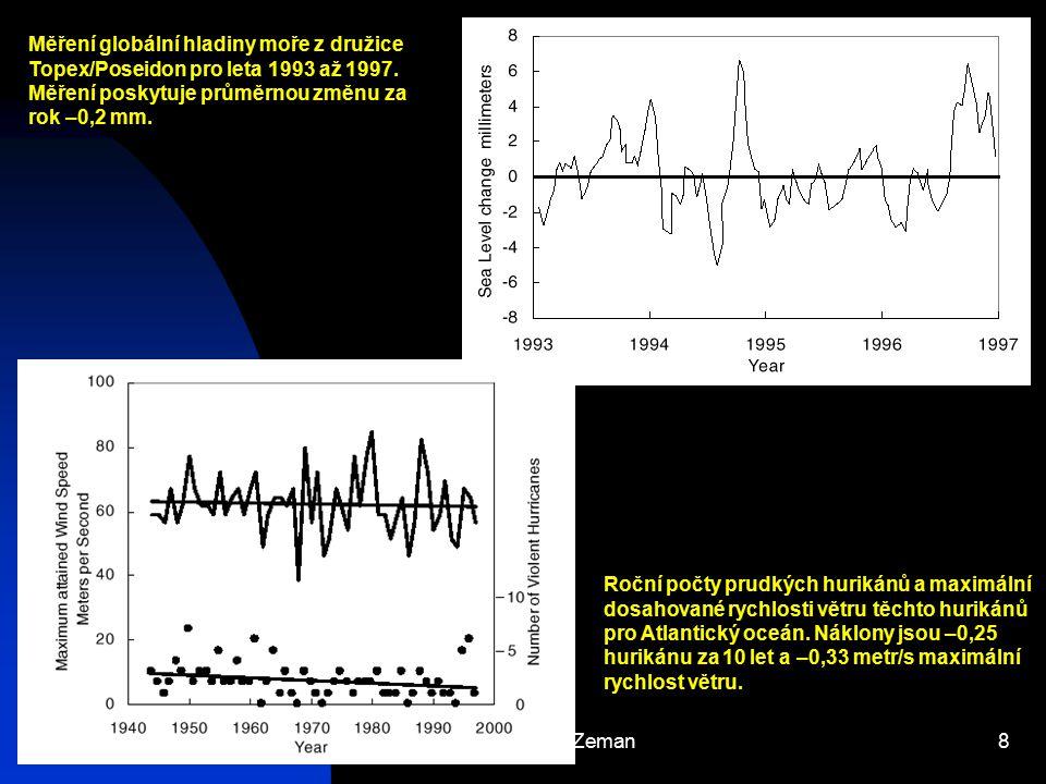 Měření globální hladiny moře z družice Topex/Poseidon pro leta 1993 až 1997. Měření poskytuje průměrnou změnu za rok –0,2 mm.