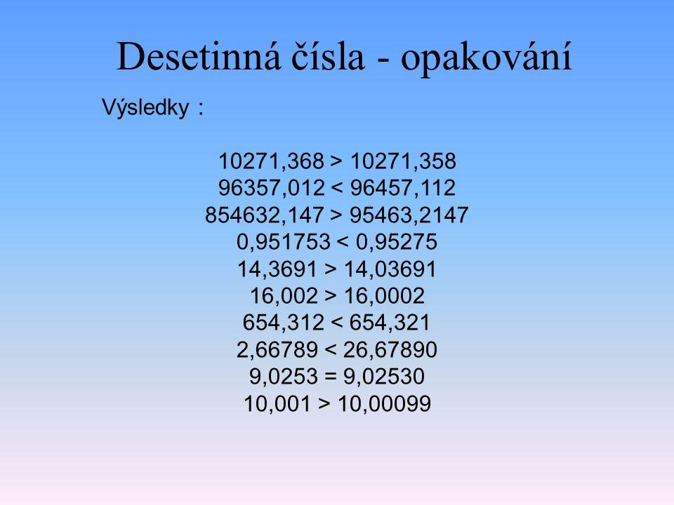Desetinná čísla - opakování
