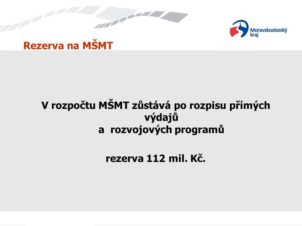 Rezerva na MŠMT V rozpočtu MŠMT zůstává po rozpisu přímých výdajů a rozvojových programů. rezerva 112 mil. Kč.