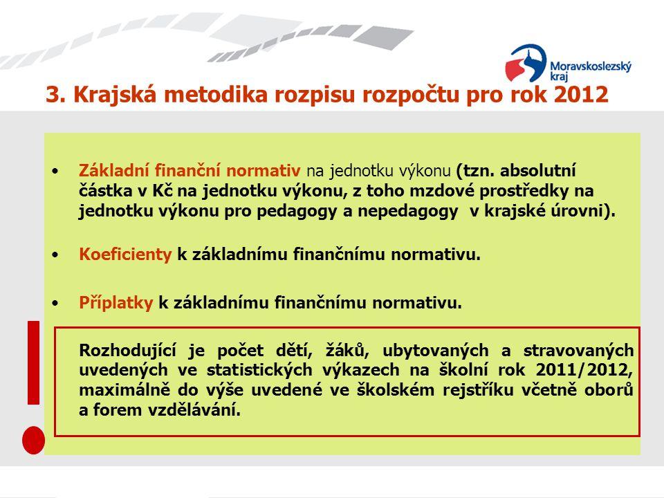 3. Krajská metodika rozpisu rozpočtu pro rok 2012