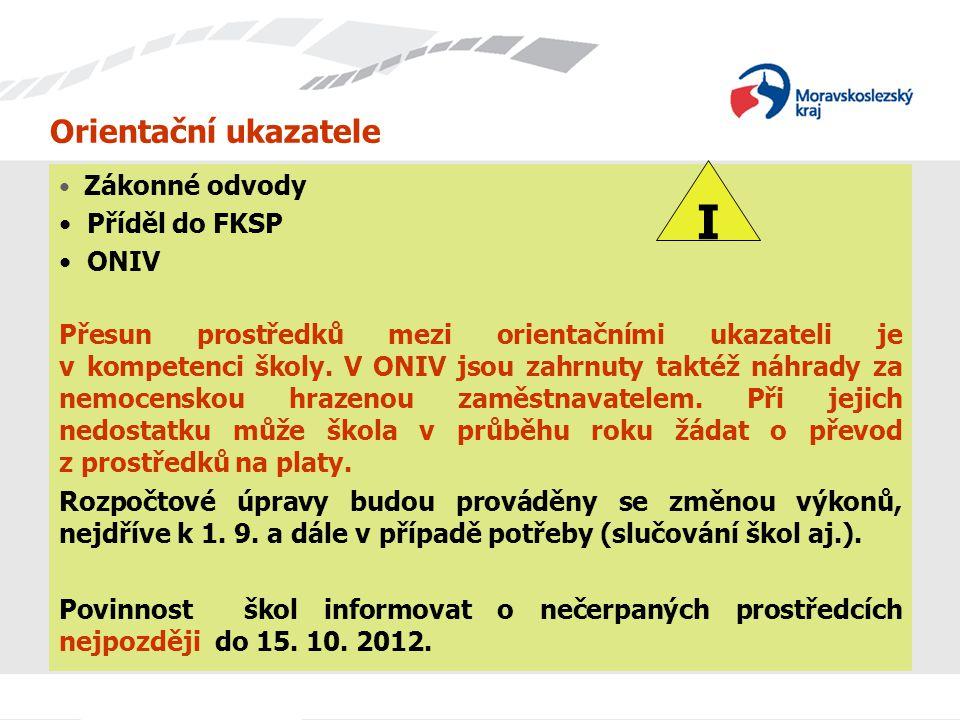 I Orientační ukazatele Příděl do FKSP ONIV