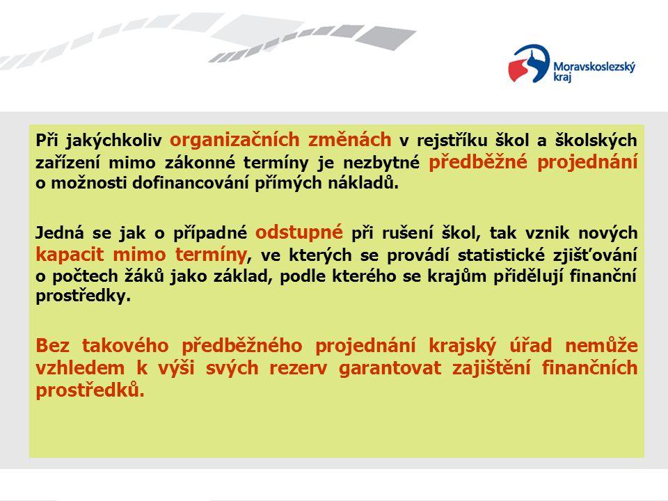 Při jakýchkoliv organizačních změnách v rejstříku škol a školských zařízení mimo zákonné termíny je nezbytné předběžné projednání o možnosti dofinancování přímých nákladů.