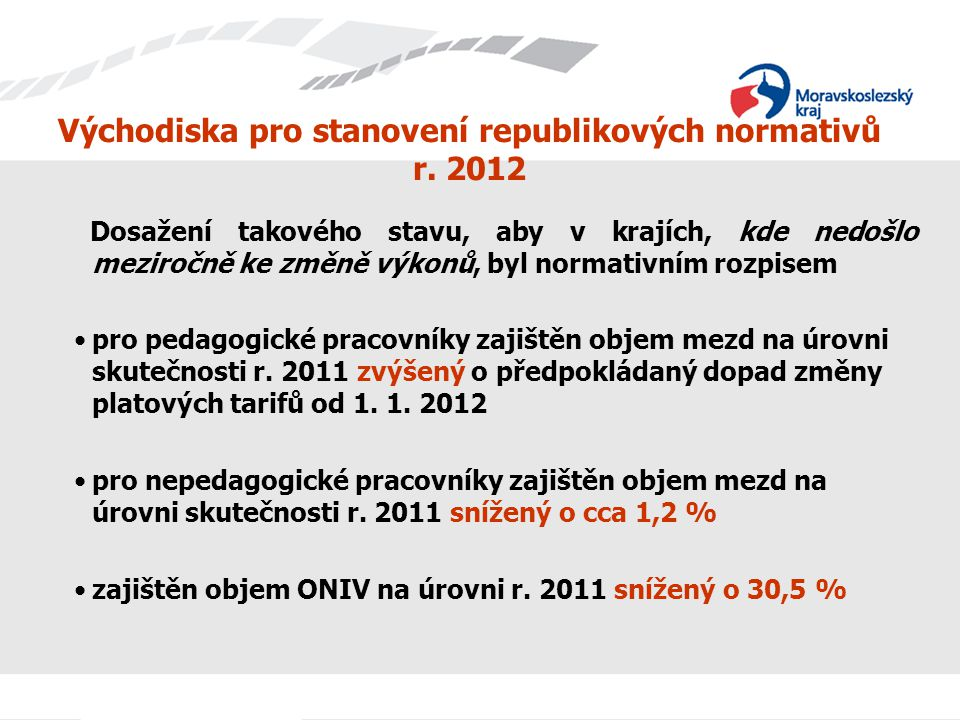 Východiska pro stanovení republikových normativů r. 2012