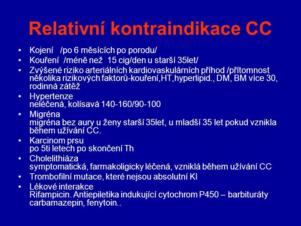 Relativní kontraindikace CC