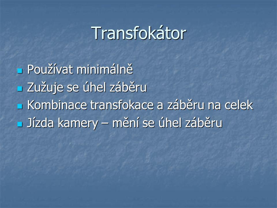 Transfokátor Používat minimálně Zužuje se úhel záběru