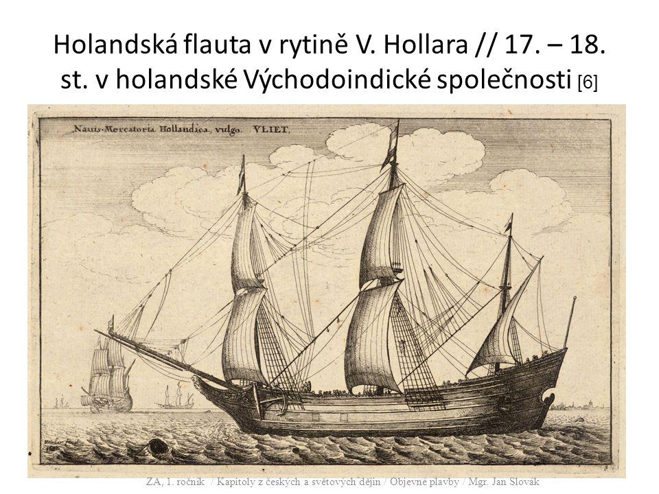 Holandská flauta v rytině V. Hollara // 17. – 18. st