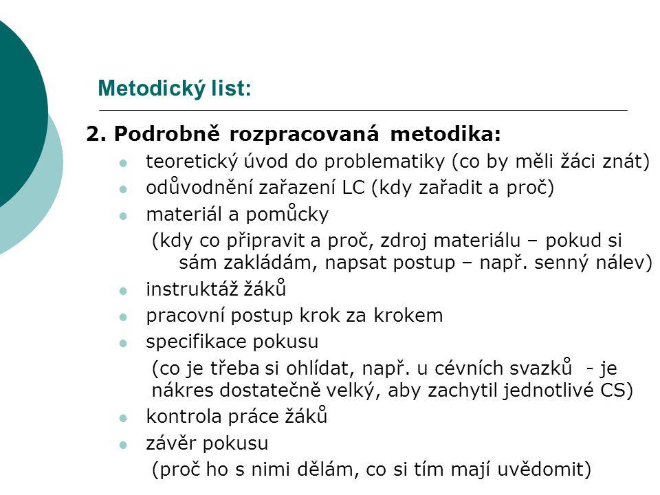 Metodický list: 2. Podrobně rozpracovaná metodika: