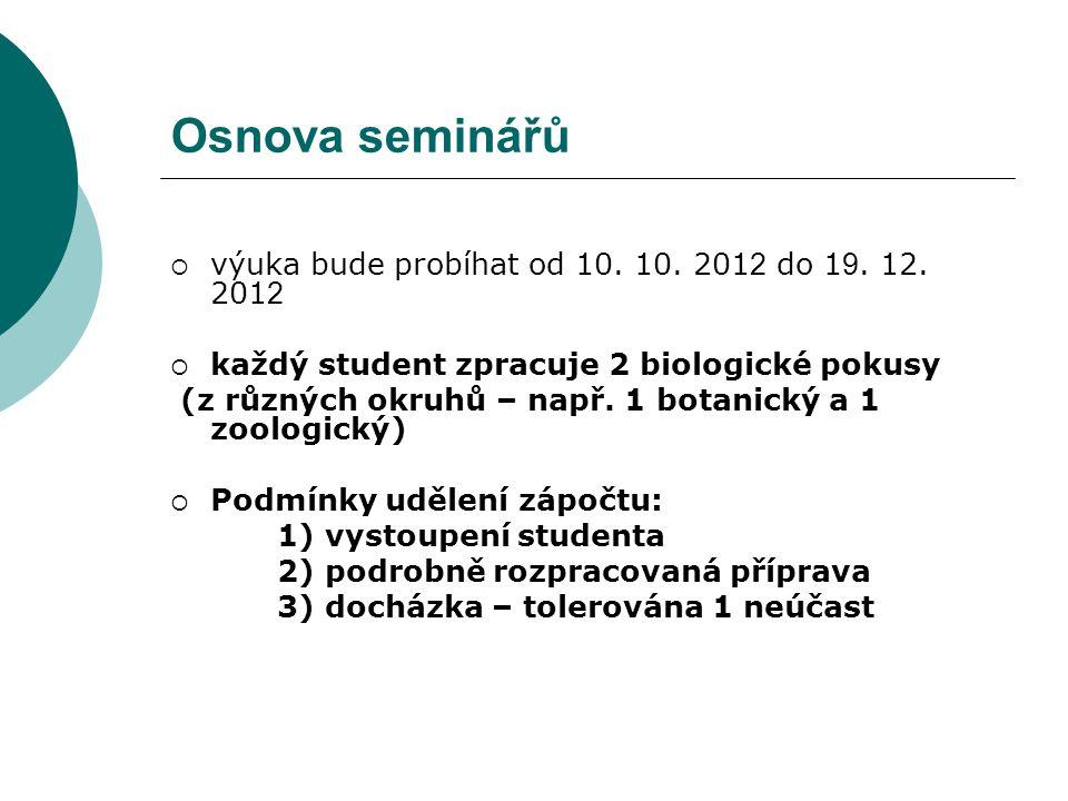 Osnova seminářů výuka bude probíhat od 10. 10. 2012 do 19. 12. 2012