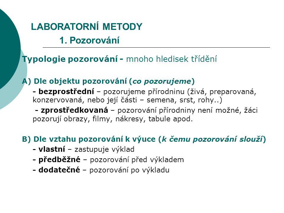 LABORATORNÍ METODY 1. Pozorování