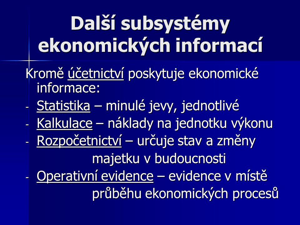 Další subsystémy ekonomických informací