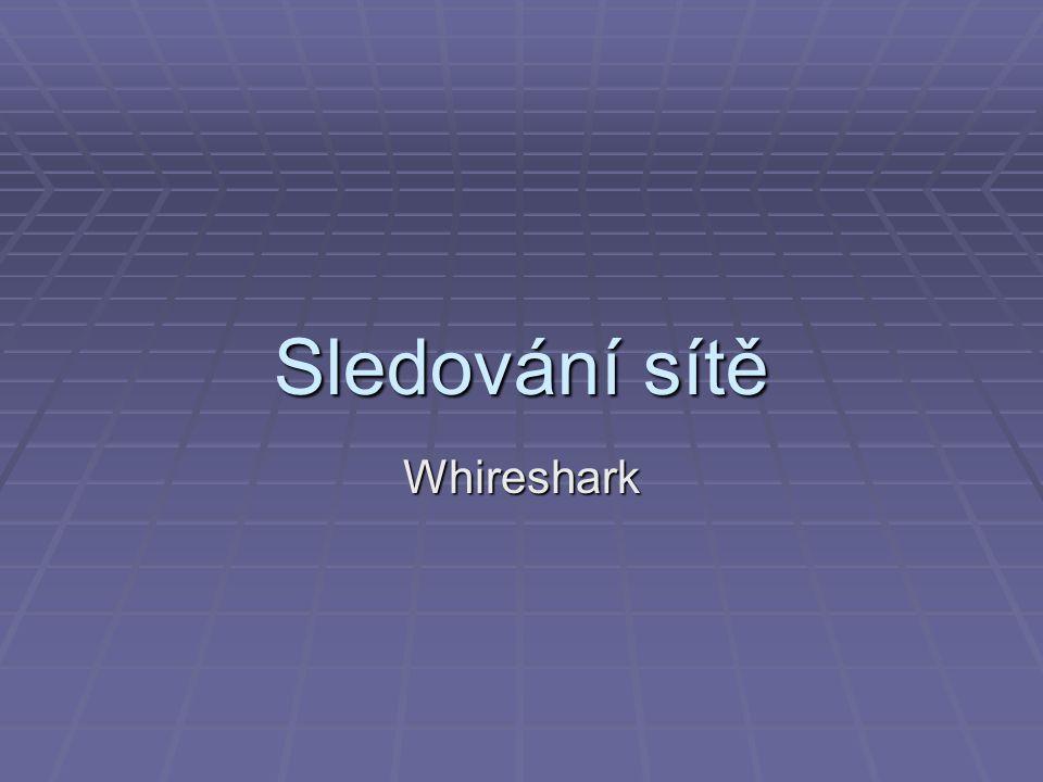 Sledování sítě Whireshark
