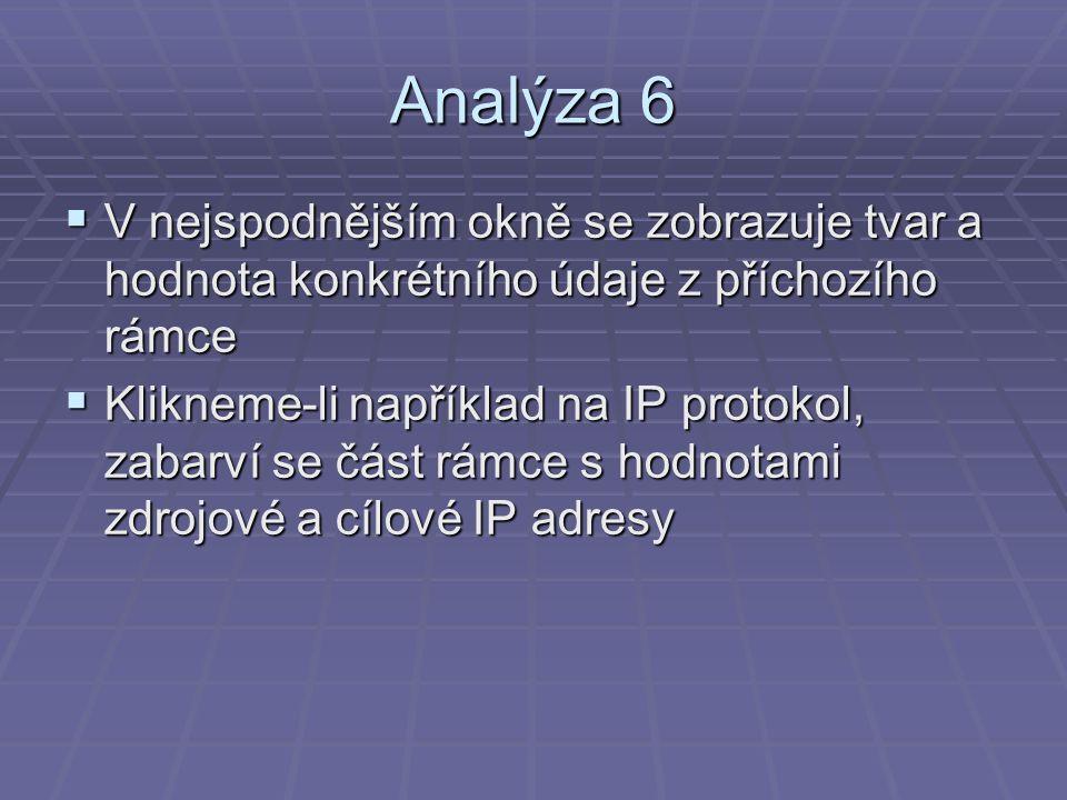 Analýza 6 V nejspodnějším okně se zobrazuje tvar a hodnota konkrétního údaje z příchozího rámce.