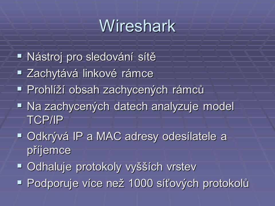 Wireshark Nástroj pro sledování sítě Zachytává linkové rámce