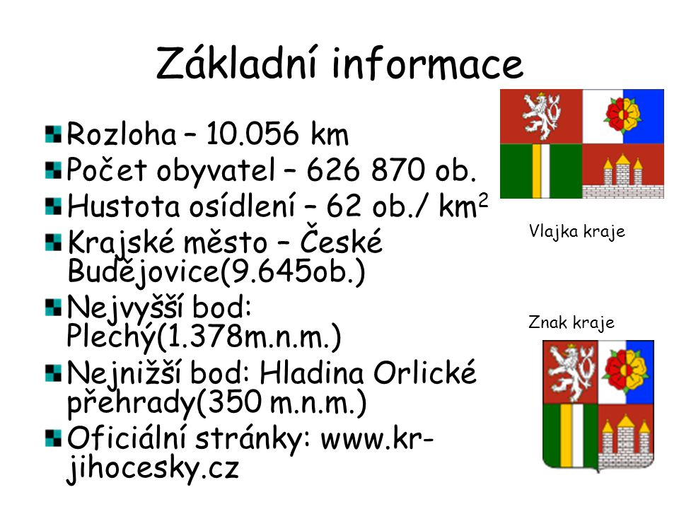 Základní informace Rozloha – 10.056 km Počet obyvatel – 626 870 ob.
