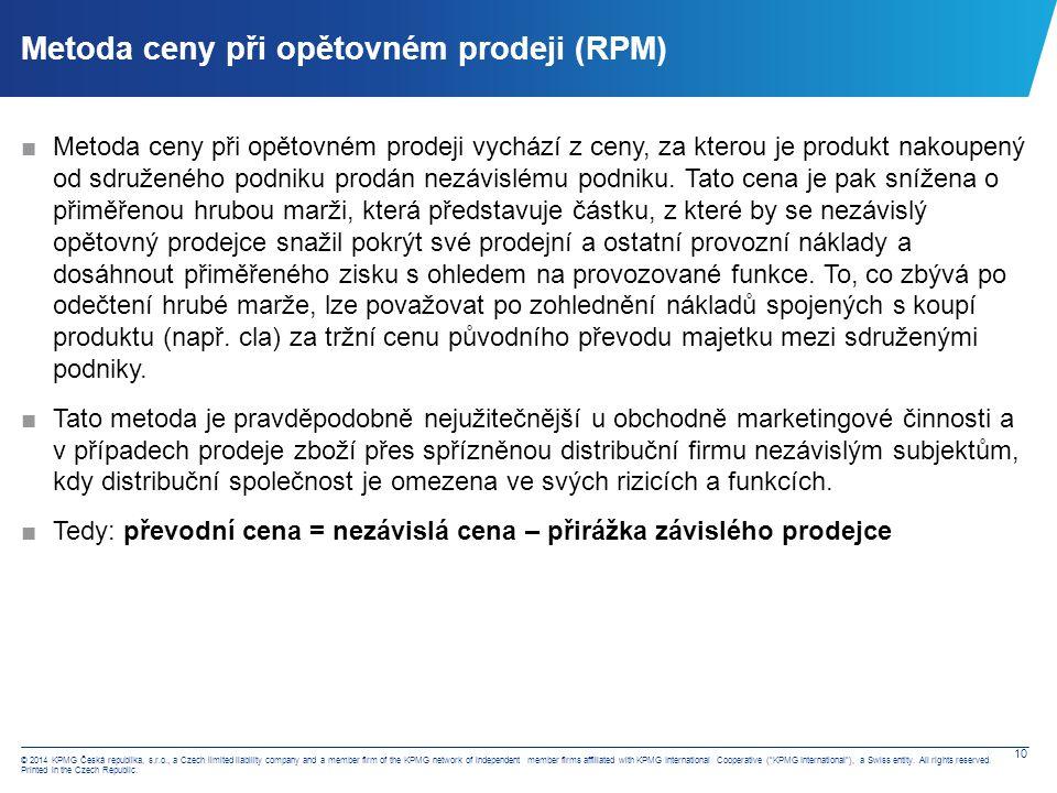 Metoda nákladů a přirážky (CPM)