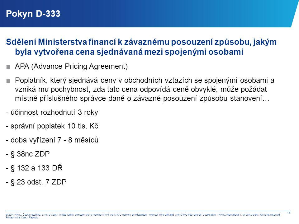 Pokyn D-334 Sdělení Ministerstva financí k rozsahu dokumentace způsobu tvorby cen mezi spojenými osobami.
