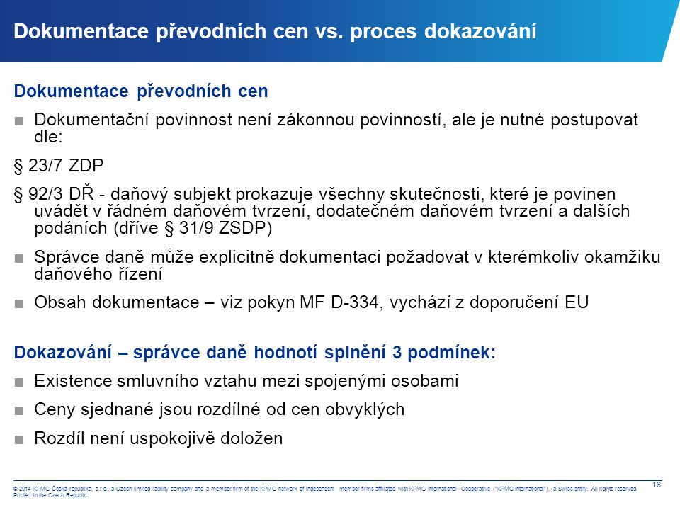 Transfer pricing – doměrky v ČR