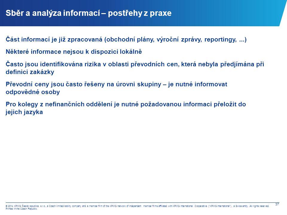 Sběr a analýza informací – obecné informace, ztrátová pozice